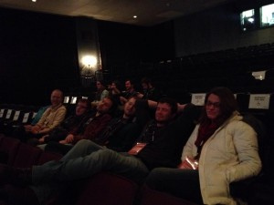 Jayme Powell with classmates pretending sleep before an 11:30pm Shorts Program I screening.