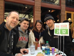 T Hovet Ryan Duvall Jayme Carrol Powell and Jacob Thorley at the Morning Star Veggie Burger Bar having a free lunch across from the Egyptian Theatre in Park City, Utah