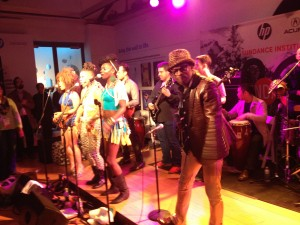 Fela Anikulapo Kuti singing with his band at the Sundance House. They were featured in the documentary Finding Fela