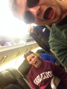 Jayme and Wes on Plane to 2014 Sundance