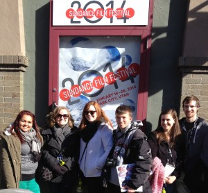 Lendee Sanchez Kaitlynn H Smith Brenna Sherrill Tyler Cobaugh Taylor Harrison and Bradley Englert outside the Egyptian Theatre in Park City, Utah.