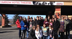 Class photo at the Yarrow Hotel Theatre, where WKU students lodged.