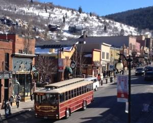 Trolley on Main Street in Park City, Utah.