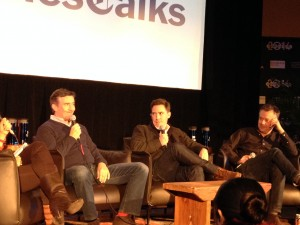 Steve Coogan and Rob Brydon at a pane session with director Michael Winterbottom discussion their film THE TRIP TO ITALY