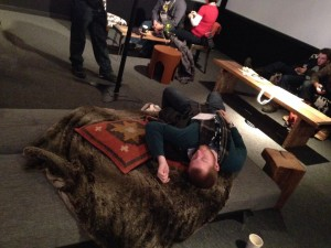 Nathan crashed at the YouTube Lounge after films and panels all day at Sundance