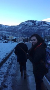 Cally Hinkle walking to film at Sundance Festival